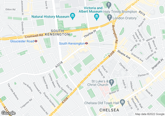 Map for Onslow Square, South Kensington, London, SW7