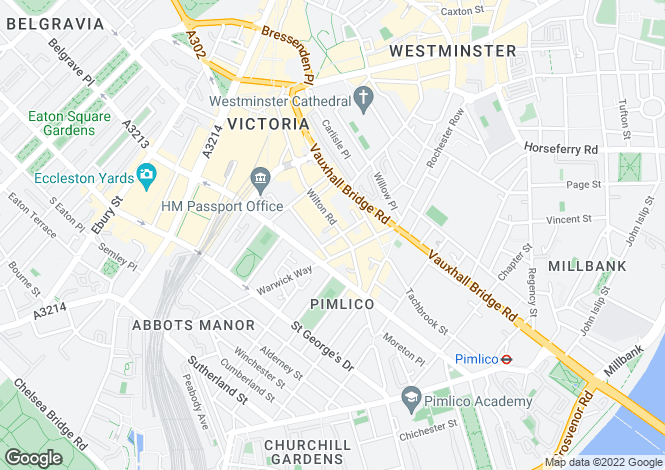 Map for Wilton Road, Pimlico