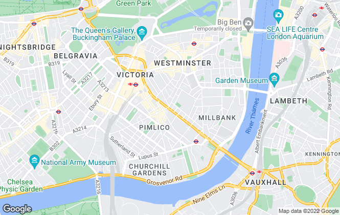 Map for Foxtons, Pimlico & Westminster