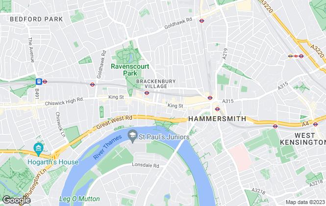 Map for Horton and Garton, Hammersmith and Shepherd's Bush