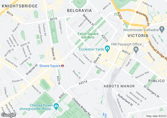 Map for Belgravia, London