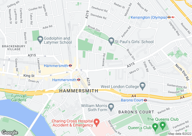 Map for Hammersmith Road, Hammersmith