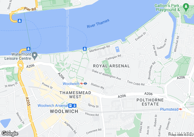 Map for Cadogan Road, 'Royal Arsenal Riverside', Woolwich, London, SE18 6YU