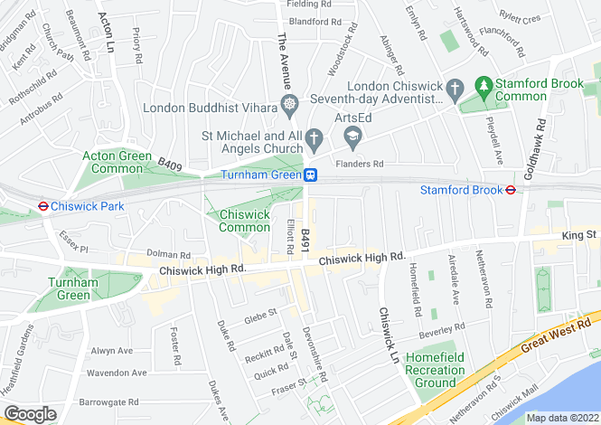 Map for Turnham Green, London W4
