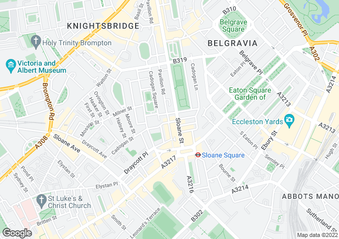 Map for Cadogan Gardens, Knightsbridge, SW3