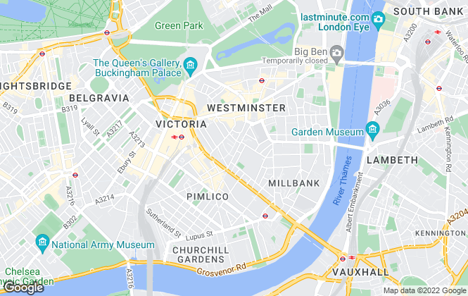 Map for Moretons , Westminster & Pimlico
