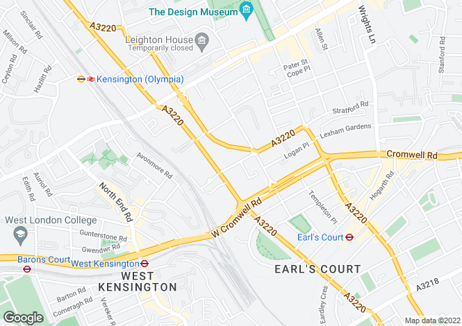 Map for Pembroke Road,South  Kensington,W8