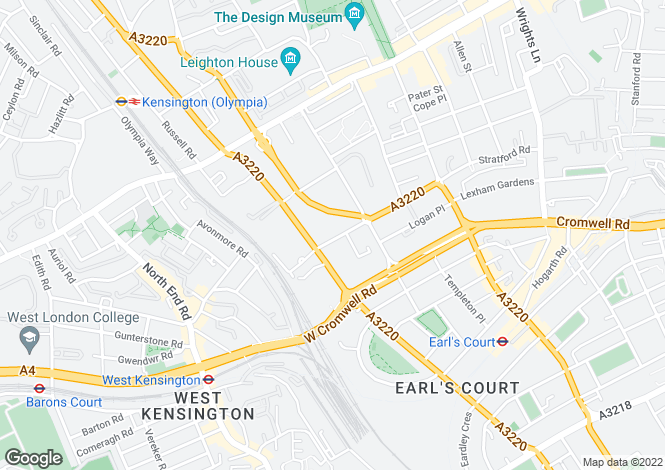 Map for Pembroke Road,  Earl's Court