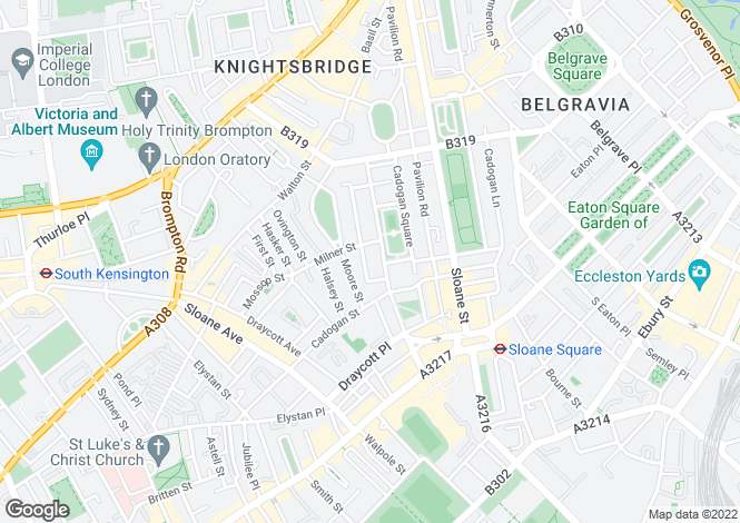Map for Cadogan Square, (Entrance On Clabon Mews), Knightsbridge, SW1X