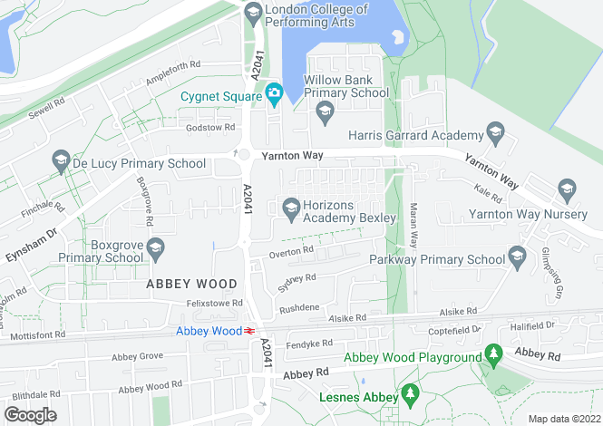Map for Lensbury Way, Abbey Wood