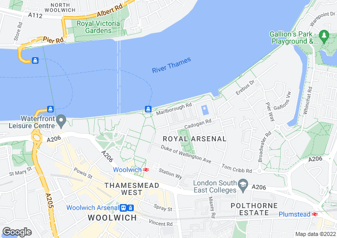 Map for Marlborough Road, Woolwich Arsenal