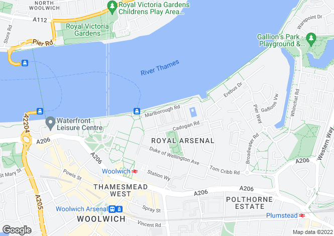 Map for Royal Arsenal, two bedroom apartment