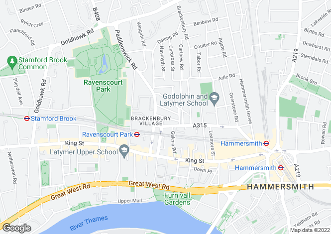 Map for Redmore Road, London, W6