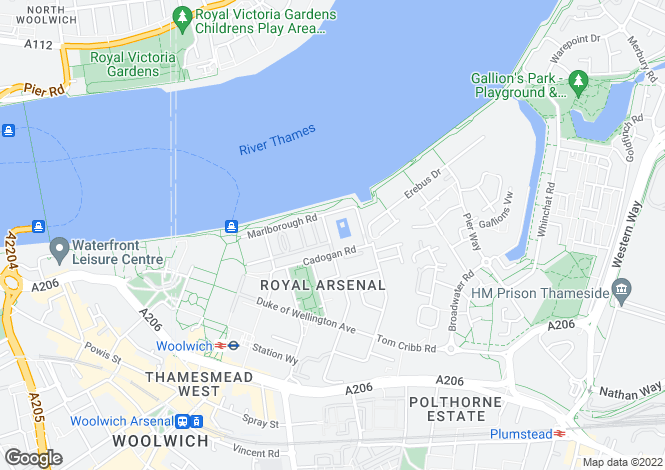 Map for Argyll Road, Woolwich