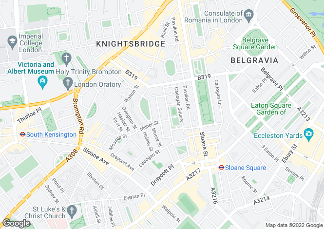 Map for Cadogan Square, London, SW1X