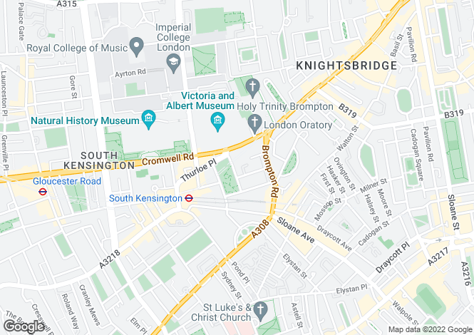 Map for Thurloe Square, South Kensington, London, SW7 2SD