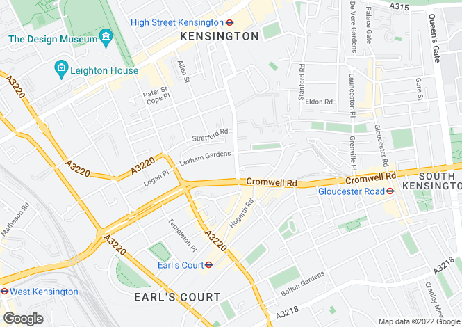 Map for Kensington Green, London, W8