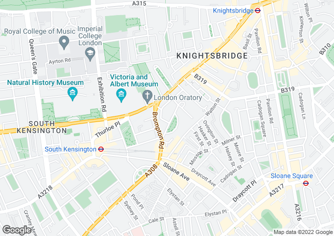 Map for Egerton Gardens, Knightsbridge, London, SW3