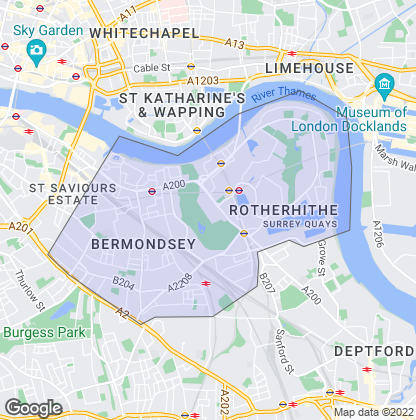 Map of property in Rotherhithe