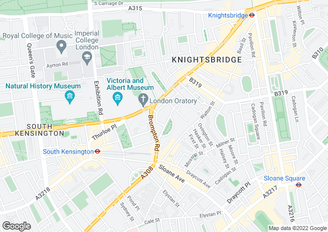 Map for Egerton Gardens, Knightsbridge, London SW3 2BP