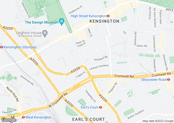 Map for STRATFORD ROAD, KENSINGTON W8