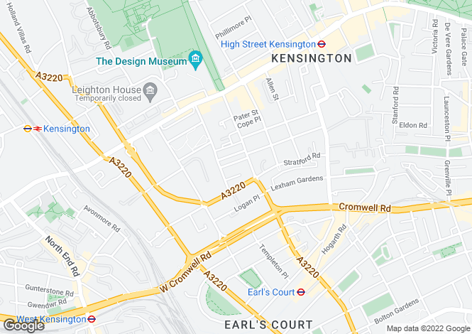 Map for Pembroke Square Kensington W8 Short Let