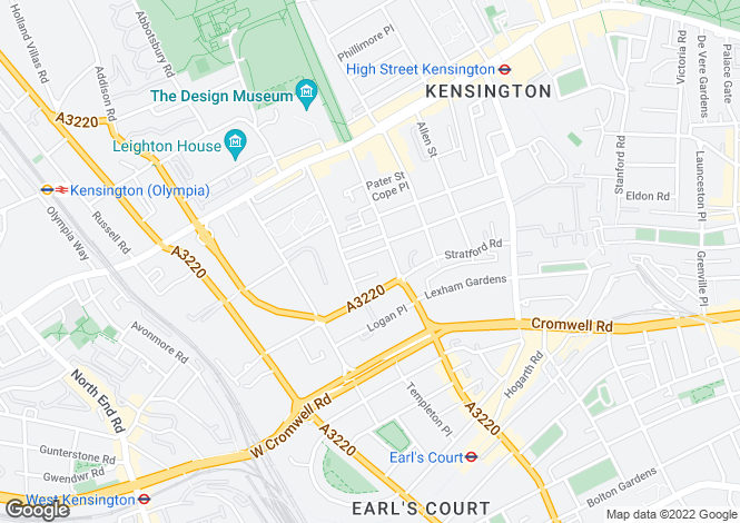 Map for Pembroke Square, Kensington, London W8
