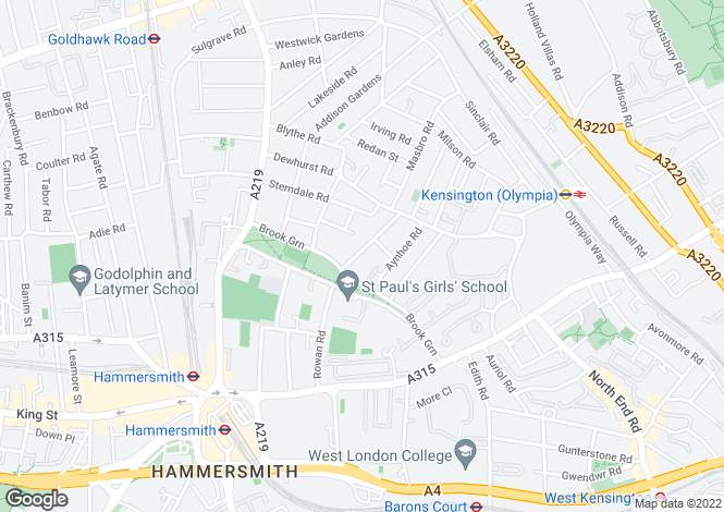Map for Caithness Road, Brook Green, London, W14