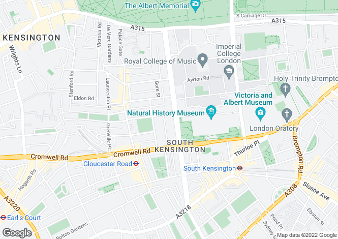 Map for Queens Gate South Kensington SW7