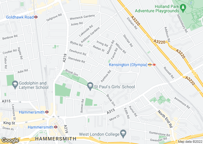 Map for Caithness Road, W14