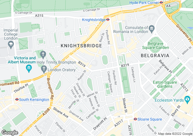 Map for Pont Street, Knightsbridge, SW1X