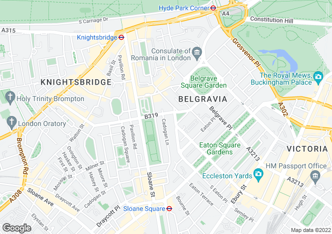 Map for Pont Street, Knightsbridge, London, SW1X