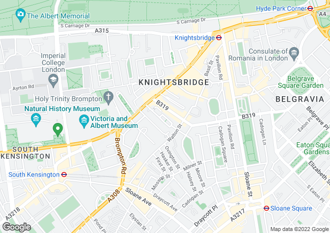 Map for Ovington Square, Knightsbridge, SW3