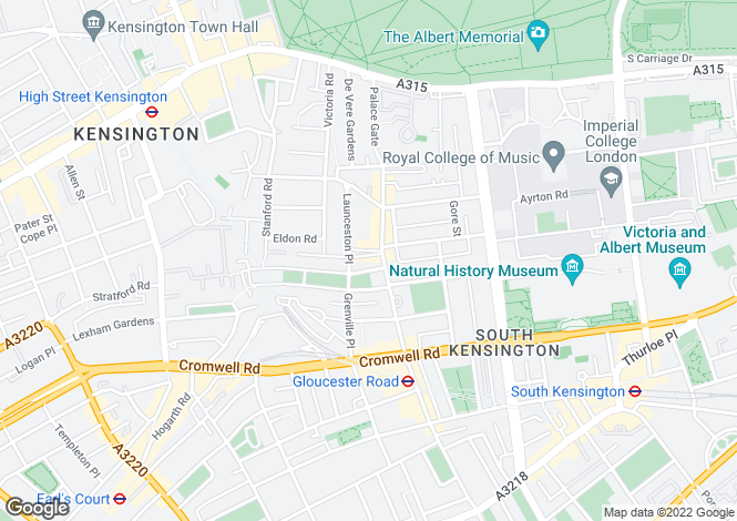Map for Cornwall Gardens, South Kensington, London SW7