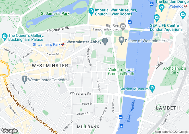 Map for 16 Tufton Street, Westminster