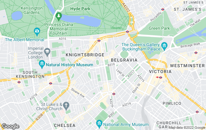 Map for Strutt & Parker - Lettings, Knightsbridge