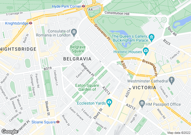 Map for Eaton Square, Belgravia, London SW1W 9AA