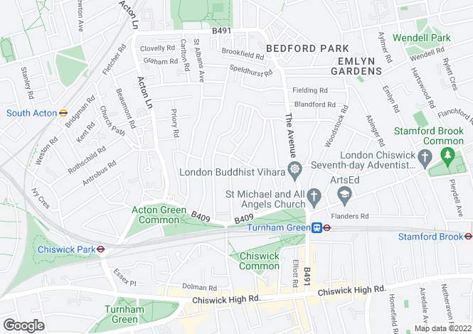 Map for Bedford Road Chiswick W4