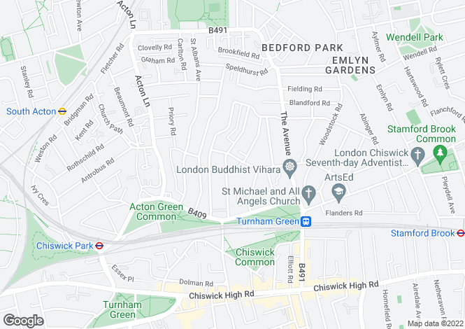 Map for Bedford Road, Chiswick, London, W4
