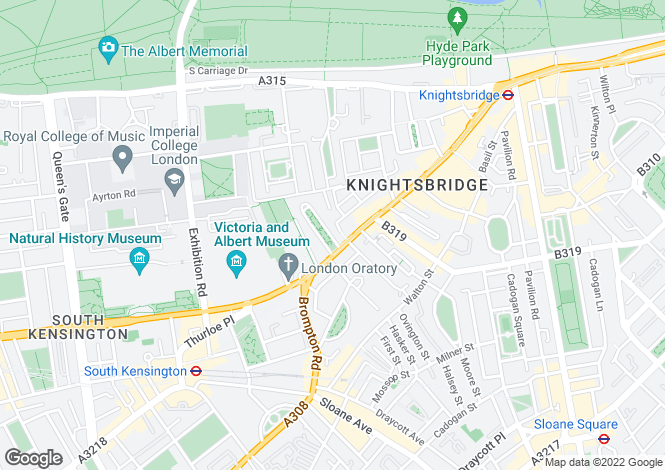 Map for Brompton Square, Knightsbridge, SW3