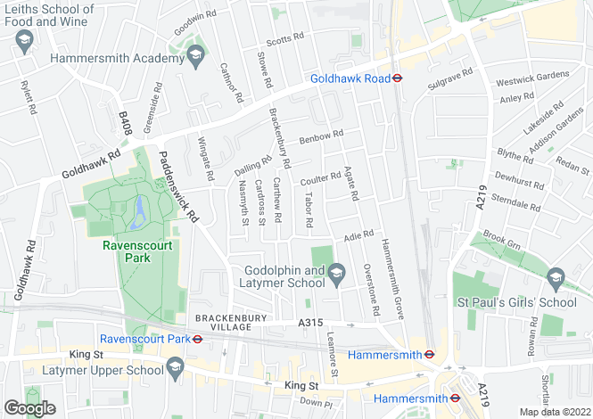 Map for Brackenbury Road, London W6