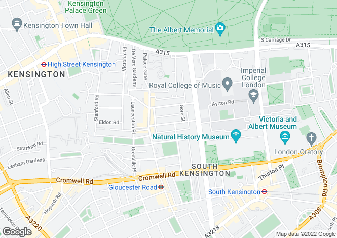 Map for Elvaston Place, London, SW7