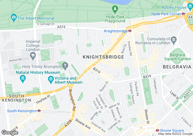 Map for Beaufort Gardens, Knightsbridge, London, SW3