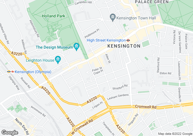 Map for WARWICK CHAMBERS, KENSINGTON, W8