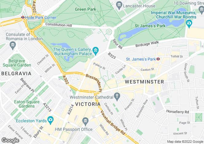 Map for 12 Palace Street, Victoria, London, SW1E