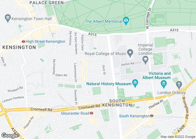 Map for Queens Gate Terrace SW7