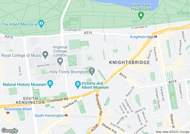 Map for Brompton Square, Knightsbridge, London, SW3