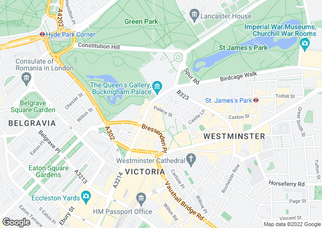 Map for PALACE STREET SW1E