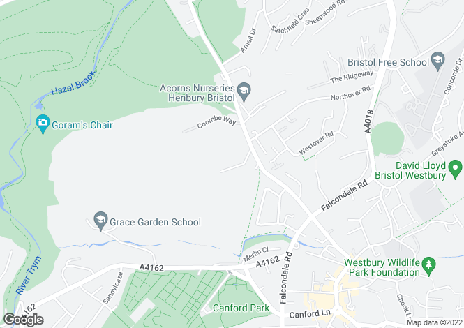 Map for Hyland Grove, Westbury-on-Trym