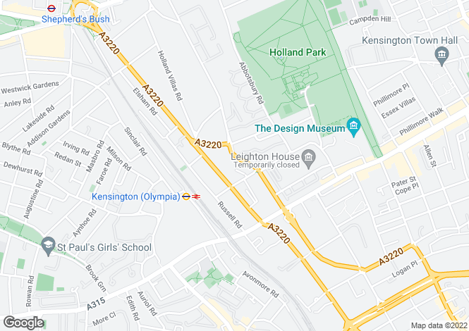 Map for Addison Road, Holland Park, London, W14